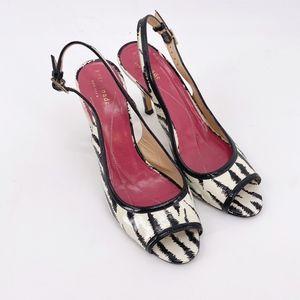 Kate Spade Zebra Stripe Open Toe Slingback Heels